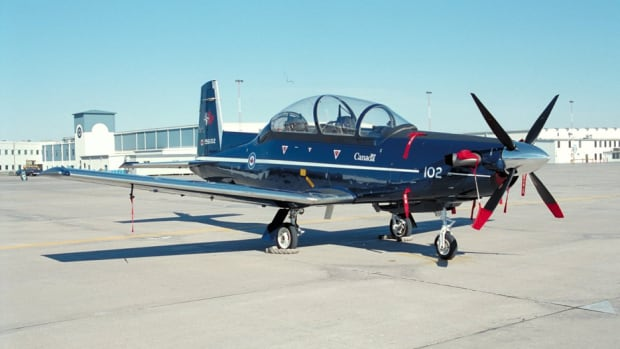 The military Harvard II that crashed in the vicinity of 15 Wing at Moose Jaw. Two pilots ejected safely.