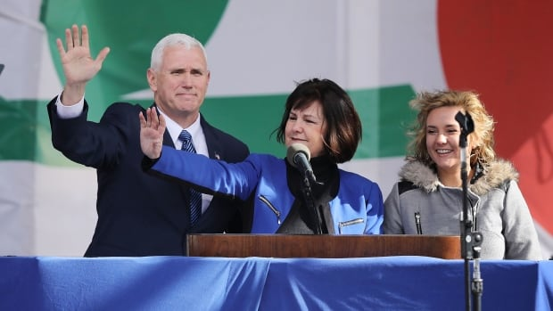 U.S. Vice-President Mike Pence, left, wife Karen Pence, centre, and their daughter Charlotte Pence arrive for a rally on the National Mall before the start of the 43rd annual March for Life in Washington, D.C. Pence said ending taxpayer-funded abortion is a top priority for the Trump administration.