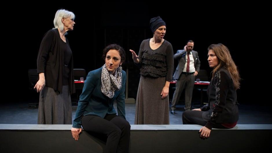 L to R Barbara Gordon, Bahareh Yaraghi, Niki Landau, Blair Williams and Diane Flacks in  the play Unholy by Diane Flacks, produced by Nightwood Theatre.