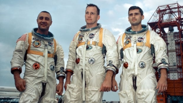 Astronauts, from the left, Gus Grissom, Ed White II and Roger Chaffee stand near Cape Kennedy's Launch Complex 34 during training for Apollo 1 in January 1967.  They all died in a fire during a launch pad test.