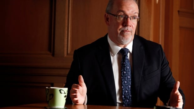 B.C. NDP Leader, John Horgan is photographed during an interview in his office at the Legislature in Victoria, B.C., Friday, Dec. 5, 2014.
