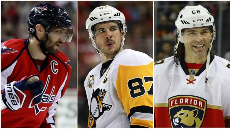 7a07c35a43d Alexander Ovechkin, left, Sidney Crosby, and Jaromir Jagr were amongst  those named to the NHL's greatest 100 players.