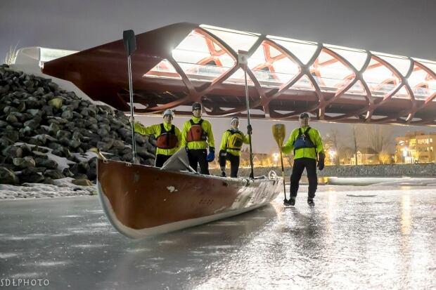Ice canoers Calgary
