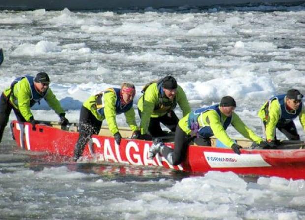 Calgary ice canoe