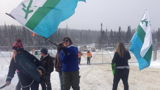 Protesters gathered at the Muskrat Falls site in Labrador Saturday afternoon.