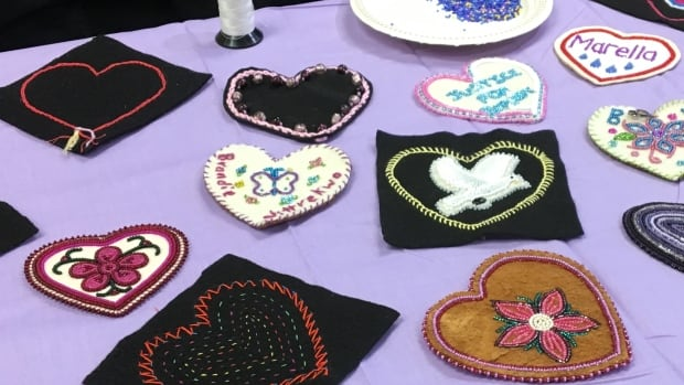 A sample of the hearts submitted to the Native Women's Association of the NWT. They will be stitched together into a tapestry for the Sisters in Spirit walk in October.
