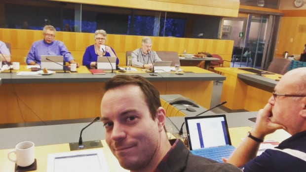 Kieron Testart, the MLA for Yellowknife's Kam Lake riding, tweeted a selfie during a committee meeting of MLAs on Monday. A lengthy budget session begins at the legislative assembly today, with the budget address scheduled for Wednesday.