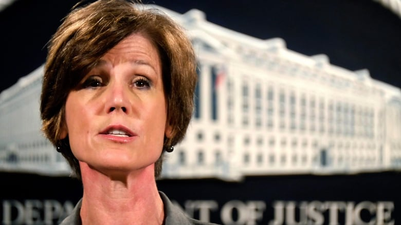 us president donald trump fired acting attorney general sally yates after she directed the justice department not to defend his executive order closing