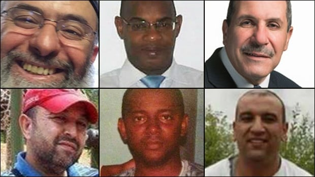 Quebec mosque attack victims, clockwise from left: Azzeddine Soufiane, Mamadou Tanou Barry, Khaled Belkacemi, Aboubaker Thabti, Ibrahima Barry and Abdelkrim Hassane