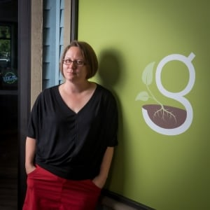 Owner of Green grocery store Crystal Lehky