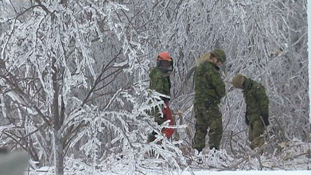 About three dozen military engineers will spend the next few weeks on the Acadian Peninsula, clearing roads and yards of trees damaged by last week's major ice storm.