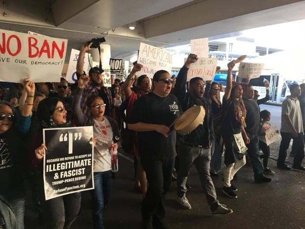Native activists lead march at LAX