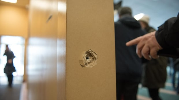 A bullet is lodged in a column inside the Quebec City mosque where six people were shot and killed Sunday.