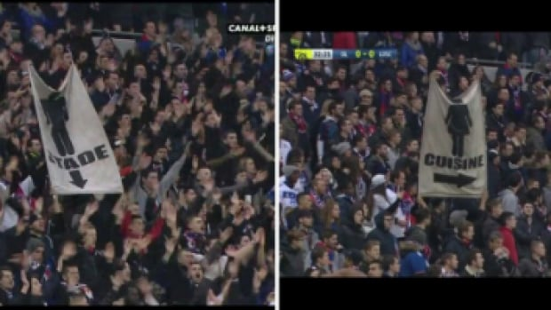 Lyon soccer fans raise sexist banners during at a French Ligue 1 match on Saturday.