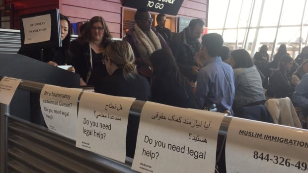One of the dining areas in Terminal 4 of New York's JFK airport has become a temporary legal clinic, where volunteer immigration lawyers handle the cases of those impacted by Donald Trump's executive order on immigrants and refugees.