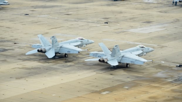 U.S. Navy Super Hornets are seen here on the flight line at U.S. Naval Air Station Oceana, in Virginia Beach, Virginia last month.