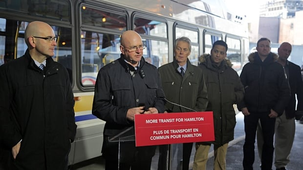Province and Metrolinx officials announced A line bus rapid transit that will travel from the waterfront to the airport. From left: Transportation Minister Steven Del Duca, Metrolinx chief capital officer John Jensen, Mayor Fred Eisenberger, Coun. Matthew Green from Ward 3, Coun. Aidan Johnson from Ward 1 and Coun. Jason Farr from Ward 2.