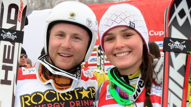 Canada's Brady Leman, left, celebrates with fellow winner Marielle Thompson at a World Cup event at Blue Mountain, Ont., in 2012.