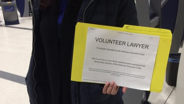 A number of Canadian lawyers are volunteering their time at airports to help those affected by U.S. President Donald Trump's travel ban.
