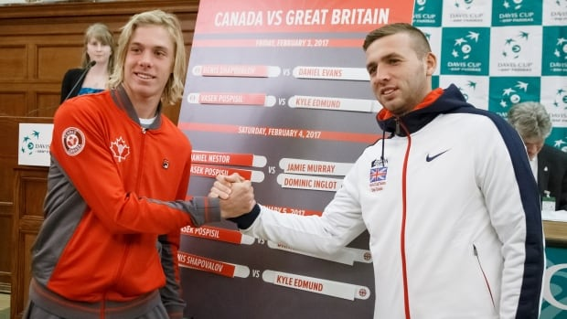 Denis Shapovalov, left, will lead Canada into its Davis Cup tie this weekend against Great Britain.