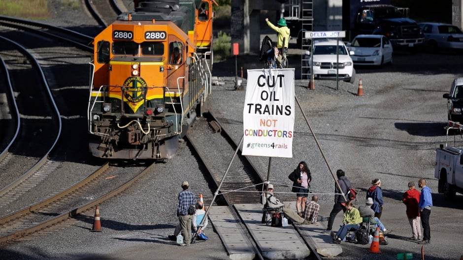 About a dozen demonstrators blocked the tracks at a Burlington Northern Santa Fe yard in Burlington, Washington in 2014, to protest the shipment of oil and coal. Five of the protesters faced trespassing charges for the blockade, and attempted to argue that they did it our of necessity, to halt the imminent threat of climate change.