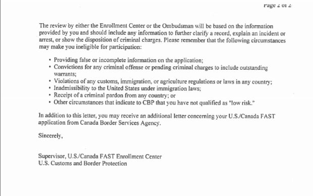 Letter from US Customs FAST Program Termination Page 2