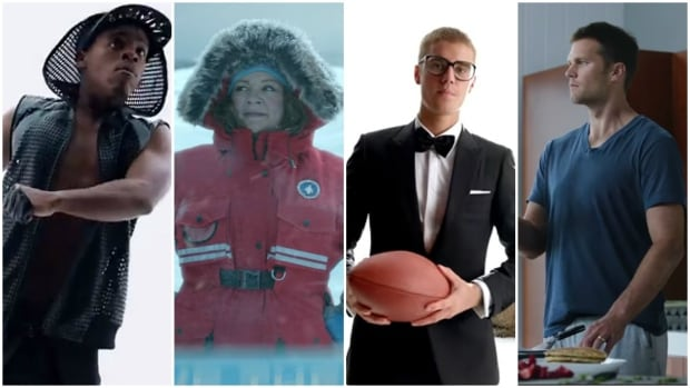 High-profile commercials for Super Bowl 2017 feature a host of stars including, from left, dancer Lil Buck, actor Melissa McCarthy, singer Justin Bieber and NFL QB Tom Brady.