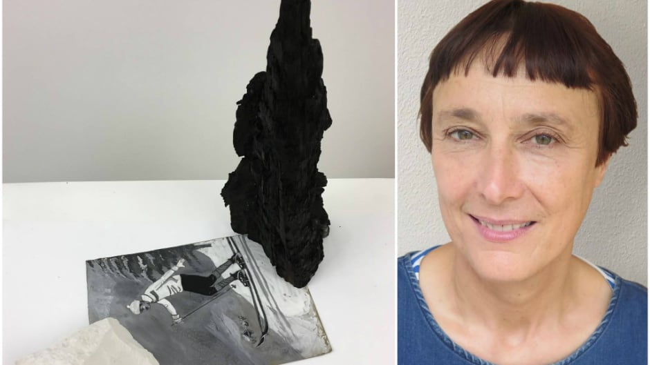 """Artist Cornelia Parker and her work """"A Slippery Slope Between Chalk and Charcoal,"""" created from charred remanants of the Mackintosh Library at the Glasgow School of Art."""