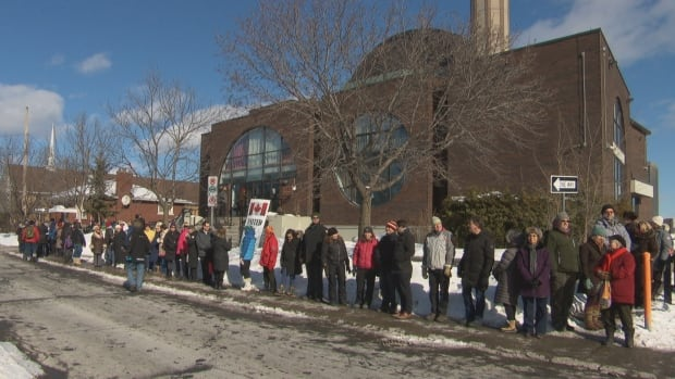Dozens of people gathered around the Ottawa Mosque in a show of support for the Muslim community after last Sunday's deadly shooting in Quebec City.
