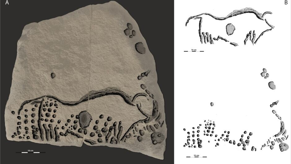 Aurochs engraving with dots connected.