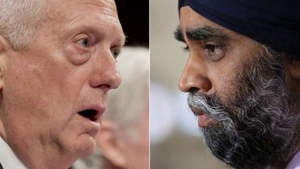 U.S. Secretary of Defence James Mattis, left, and Minister of National Defence Harjit Sajjan will meet for the first time in Washington, D.C., on Monday.