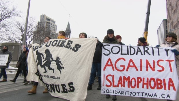 An estimated 300 people took to the streets in Ottawa Saturday to protest against Islamophobia.