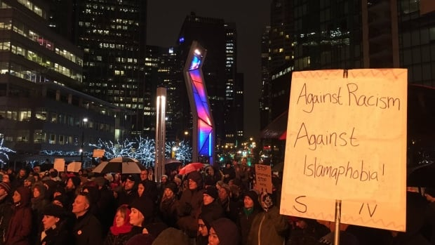 Up to 1,500 people were estimated to gather at Jack Poole Plaza in Vancouver on Feb. 4, 2017 to gathering in solidarity against Islamophobia.