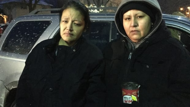 Barbara Kentner, left, was struck by a trailer hitch thrown from a moving car in Thunder Bay, Ont., on Jan. 29. Her sister, Melissa Kentner, right, says she has never recovered from her injuries.