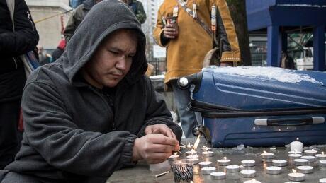 Vancouver Fentanyl Vigil candles Pigeon Park