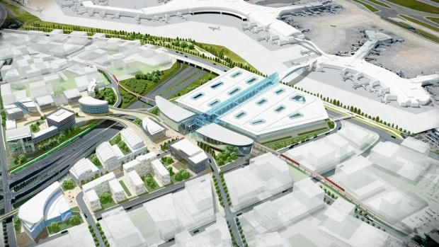 The glass-roofed building at the centre of this rendering could become the area you arrive at Toronto's Pearson International Airport in the future. The Greater Toronto Airports Authority said it thinks the surrounding buildings will be a mix of office, commercial and hotel space.
