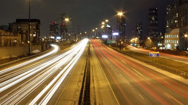 Toronto Highway tail lights long exposure