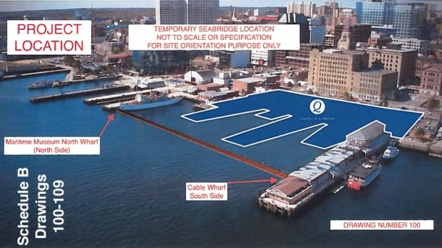 The temporary sea bridge would involve a series of 13 large, commercial grade floating docks, each three by 12 metres.
