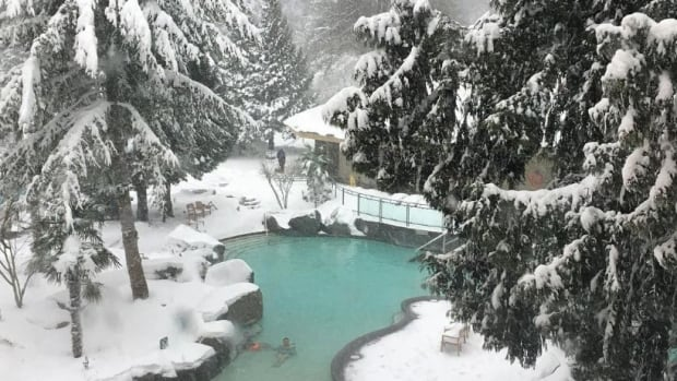 Snow covers the hot springs at Harrison, B.C.