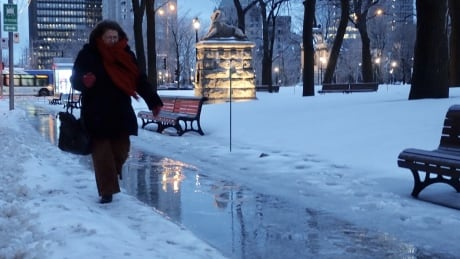 Montreal weather snow slush sidewalk