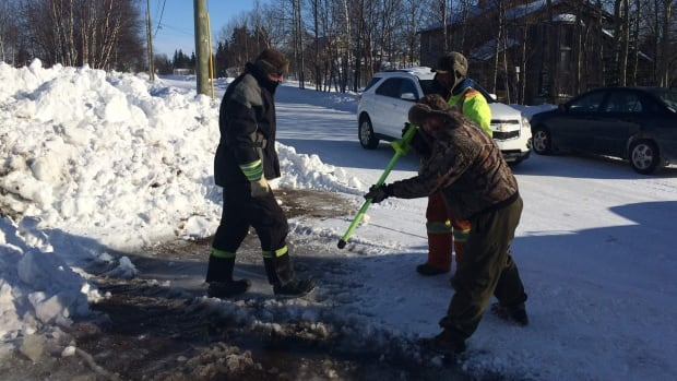 Crews and trained volunteers had to first break through the ground, then remove excess water before repairing the leak.