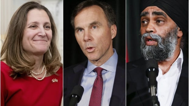 Prime Minister Justin Trudeau and new U.S. President Donald Trump have yet to schedule their first face-to-face meeting, but Liberal ministers, including Chrystia Freeland, from left, Bill Morneau and Harjit Sajjan, have been busy shaking hands and sharing Canada's message in Washington.