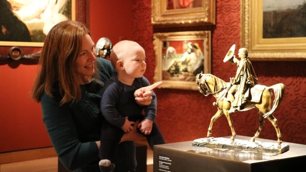 Sarah Lolley and baby Rowan take in art at the Montreal Museum of Fine Arts.