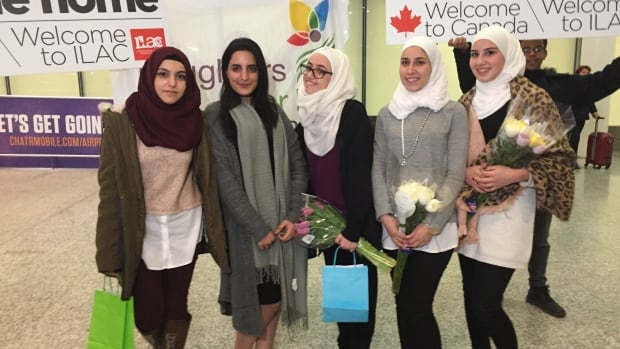 Five young women who fled war-torn Syria won scholarships to study English in Canada. From left to right: Alaa Alakel, 24; Raneem Kanaan, 19; Aya Hammoud,18; Ayaat Labbad, 23, and Asmaa Labbad, 21.