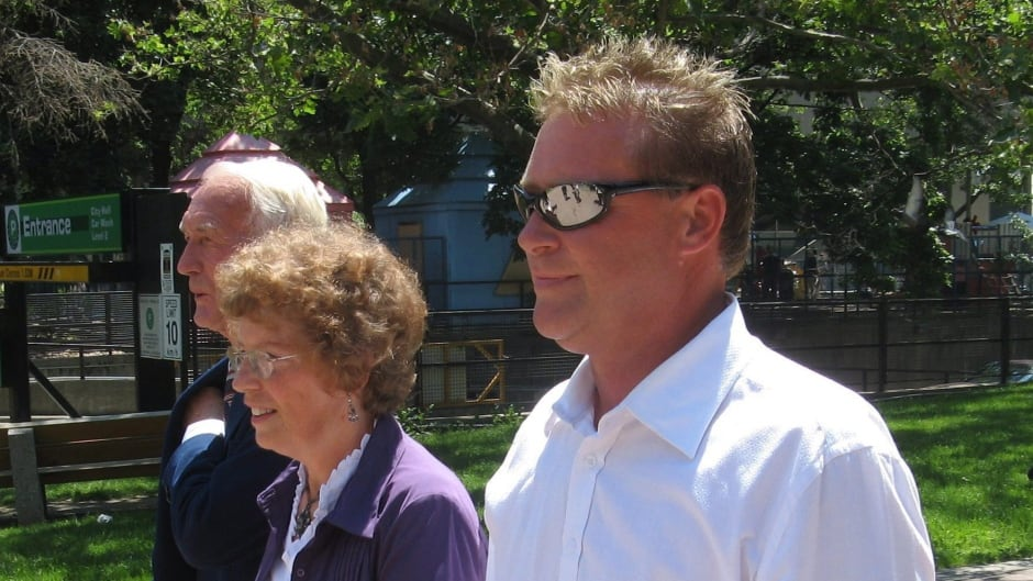 Anthony Hanemaayer walks outside court in Toronto, Wednesday, June 25, 2008 with his parents Peter and Wilma Hanemaayer.