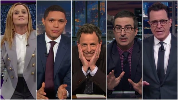 It has already been a promising start to the Trump era in late-night comedy, with talk show hosts including, from left, Samantha Bee, Trevor Noah, Seth Meyers, John Oliver and Stephen Colbert roasting the new U.S. president.