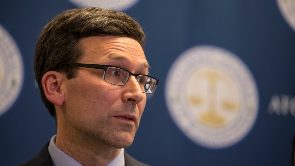 Washington state Attorney General Bob Ferguson speaks during a press conference at his office in Seattle on Thursday. An appeals court refused to reinstate U.S. President Donald Trump's ban on travellers from seven predominantly Muslim nations.