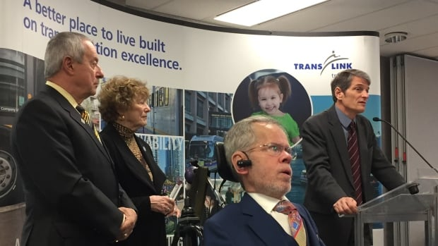 From left: Peter Fassbender, minister responsible for TransLink, Lois Jackson, mayor of Delta, Tim Louis, co-chair of the HandyDART Riders' Alliance and Kevin Desmond, CEO TransLink announce improvements to HandyDART service on Friday, Feb. 10, 2017.