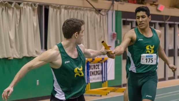 University of Sherbrooke student Yassine Aber, right, was denied entry to the United States Thursday while travelling to Boston University for a track-and-field meet.
