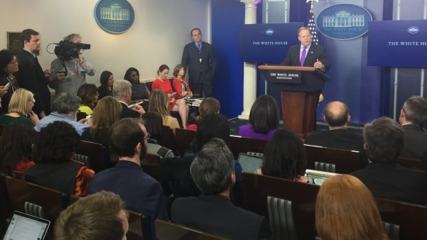 Sean Spicer White House press secretary for U.S. President Donald Trump gives his daily briefing to a packed room on Wednesday